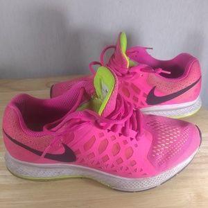 Nike hot pink over lime green pegasus 31 sneakers